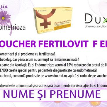 """Reduceri la """"Fertilovit F Endo"""" pentru membrii Asociației Eu și Endometrioza!"""
