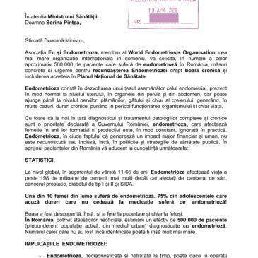 Asociația Eu și Endometrioza cere oficial includerea Endometriozei în Planul Național de Sănătate!