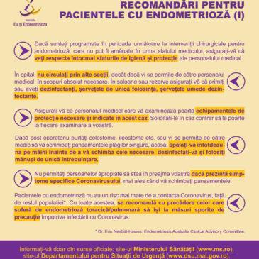 Recomandări pentru pacientele cu endometrioză privind prevenția împotriva Coronavirusului